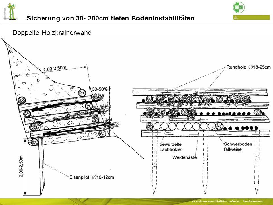 Sicherung von 30- 200cm tiefen Bodeninstabilitäten Sicherung eines Rutschhanges nach dem Versagen von Drahtsteinkörben: Weg zum Widmayerhof - Jenesien Bepflanzte doppelte Holzkrainerwand soeben gebaut