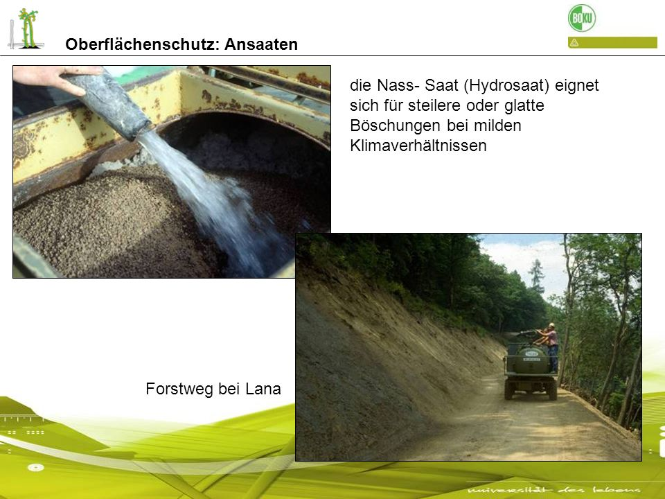 die Nass- Saat (Hydrosaat) eignet sich für steilere oder glatte Böschungen bei milden Klimaverhältnissen Forstweg bei Lana Oberflächenschutz: Ansaaten