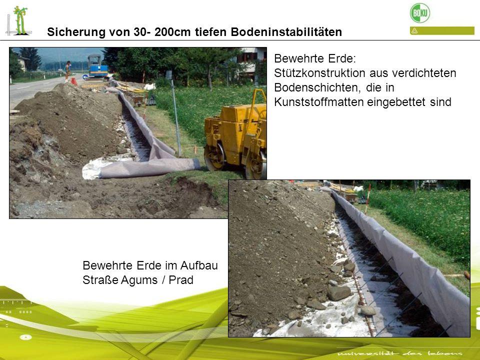 Sicherung von 30- 200cm tiefen Bodeninstabilitäten Bewehrte Erde: Stützkonstruktion aus verdichteten Bodenschichten, die in Kunststoffmatten eingebett
