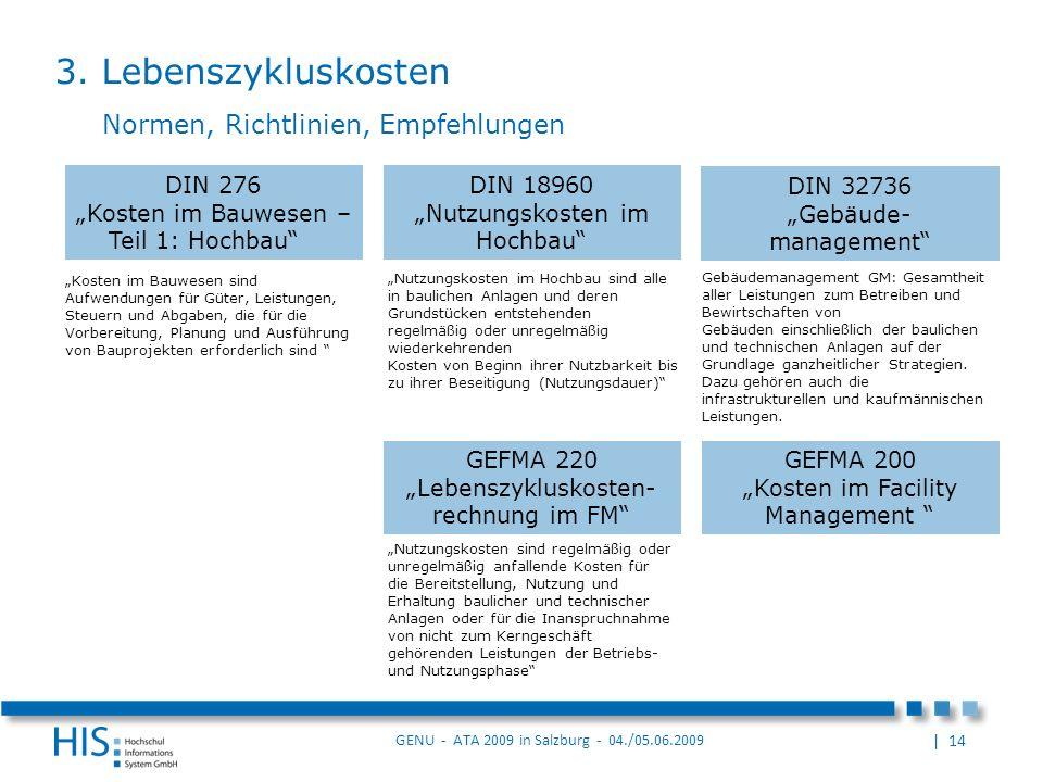 | 14 GENU - ATA 2009 in Salzburg - 04./05.06.2009 Nutzungskosten im Hochbau sind alle in baulichen Anlagen und deren Grundstücken entstehenden regelmäßig oder unregelmäßig wiederkehrenden Kosten von Beginn ihrer Nutzbarkeit bis zu ihrer Beseitigung (Nutzungsdauer) 3.