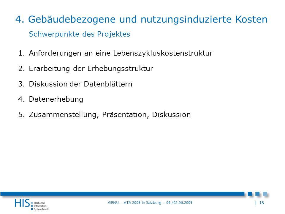 | 18 GENU - ATA 2009 in Salzburg - 04./05.06.2009 1.Anforderungen an eine Lebenszykluskostenstruktur 2.Erarbeitung der Erhebungsstruktur 3.Diskussion der Datenblättern 4.Datenerhebung 5.Zusammenstellung, Präsentation, Diskussion 4.