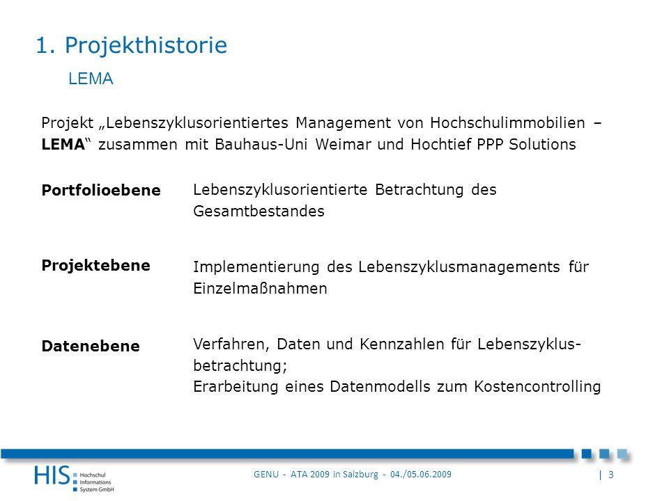 | 3 GENU - ATA 2009 in Salzburg - 04./05.06.2009 Projektebene Implementierung des Lebenszyklusmanagements für Einzelmaßnahmen Portfolioebene Lebenszyklusorientierte Betrachtung des Gesamtbestandes Datenebene Verfahren, Daten und Kennzahlen für Lebenszyklus- betrachtung; Erarbeitung eines Datenmodells zum Kostencontrolling Projekt Lebenszyklusorientiertes Management von Hochschulimmobilien – LEMA zusammen mit Bauhaus-Uni Weimar und Hochtief PPP Solutions 1.