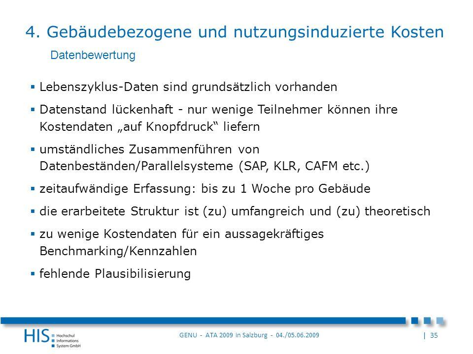 | 35 GENU - ATA 2009 in Salzburg - 04./05.06.2009 Lebenszyklus-Daten sind grundsätzlich vorhanden Datenstand lückenhaft - nur wenige Teilnehmer können ihre Kostendaten auf Knopfdruck liefern umständliches Zusammenführen von Datenbeständen/Parallelsysteme (SAP, KLR, CAFM etc.) zeitaufwändige Erfassung: bis zu 1 Woche pro Gebäude die erarbeitete Struktur ist (zu) umfangreich und (zu) theoretisch zu wenige Kostendaten für ein aussagekräftiges Benchmarking/Kennzahlen fehlende Plausibilisierung Datenbewertung 4.