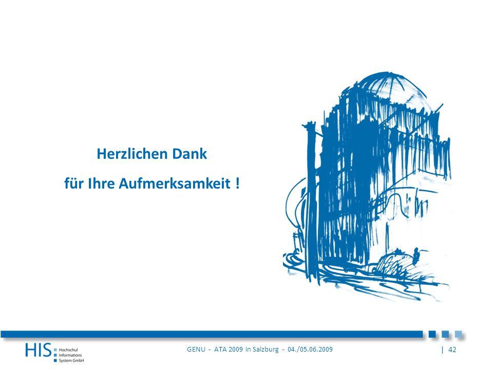 | 42 GENU - ATA 2009 in Salzburg - 04./05.06.2009 Herzlichen Dank für Ihre Aufmerksamkeit !