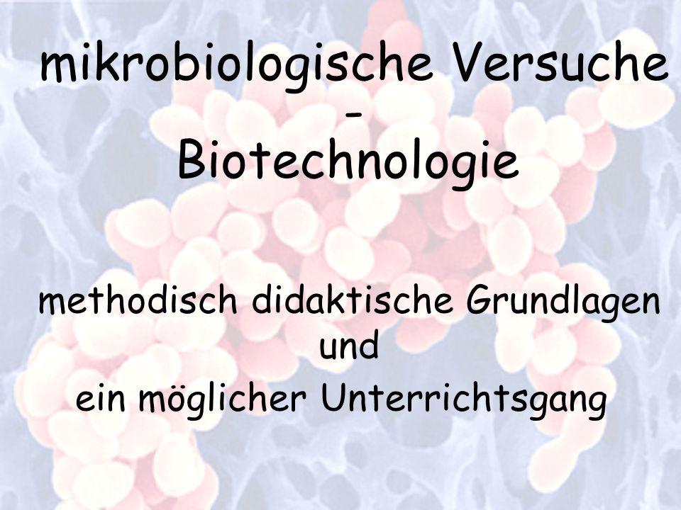 mikrobiologische Versuche - Biotechnologie methodisch didaktische Grundlagen und ein möglicher Unterrichtsgang