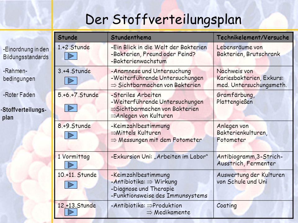 Der Stoffverteilungsplan -Einordnung in den Bildungsstandards -Rahmen- bedingungen -Roter Faden - Stoffverteilungs- plan StundeStundenthemaTechnikelem