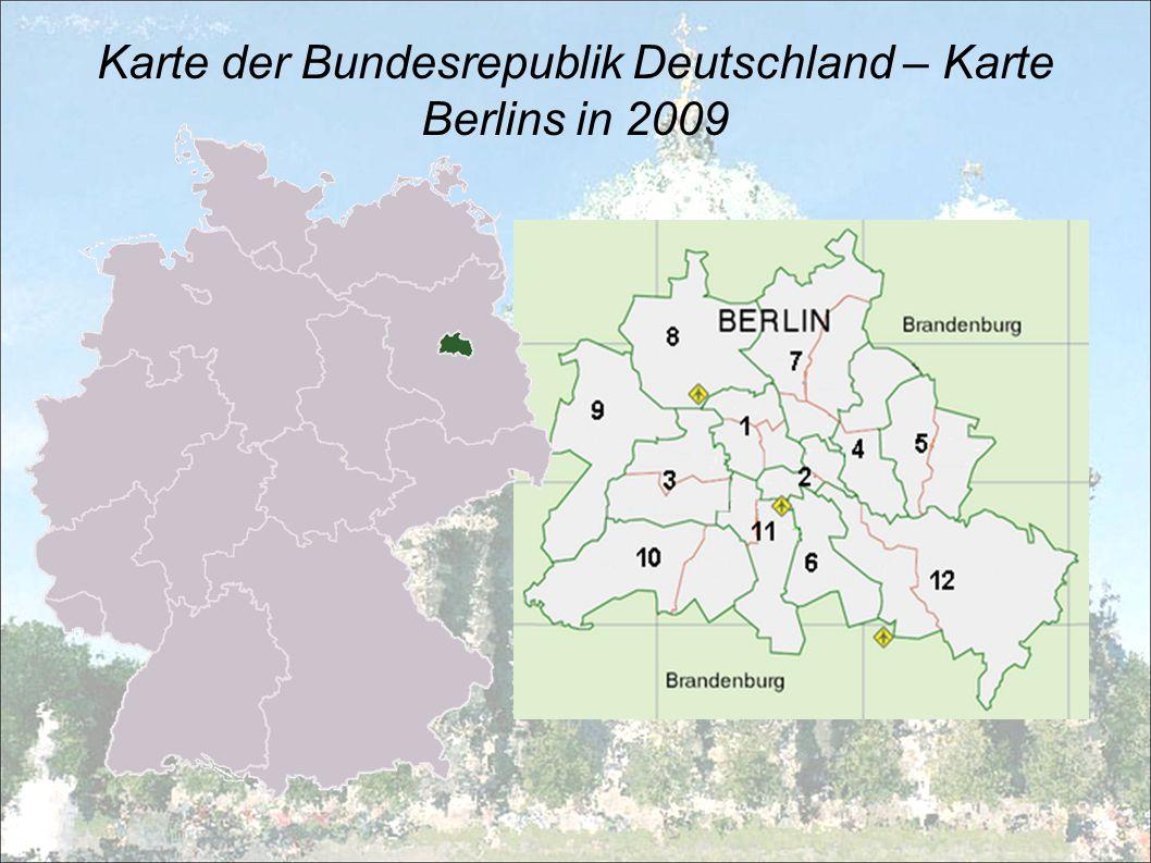 Hauptinformationen die Hauptstadt der BRD zugleich das Bundesland der BRD Landfläche: 891,82km 2 Einwohnerzahl: 3 396 990 (2005) Bevölkerungsdichte: 3809 Einwohner/Quadratmeter Bürgermeister: Klaus Wowereit (vom Abgeordnetenhaus gewählt).