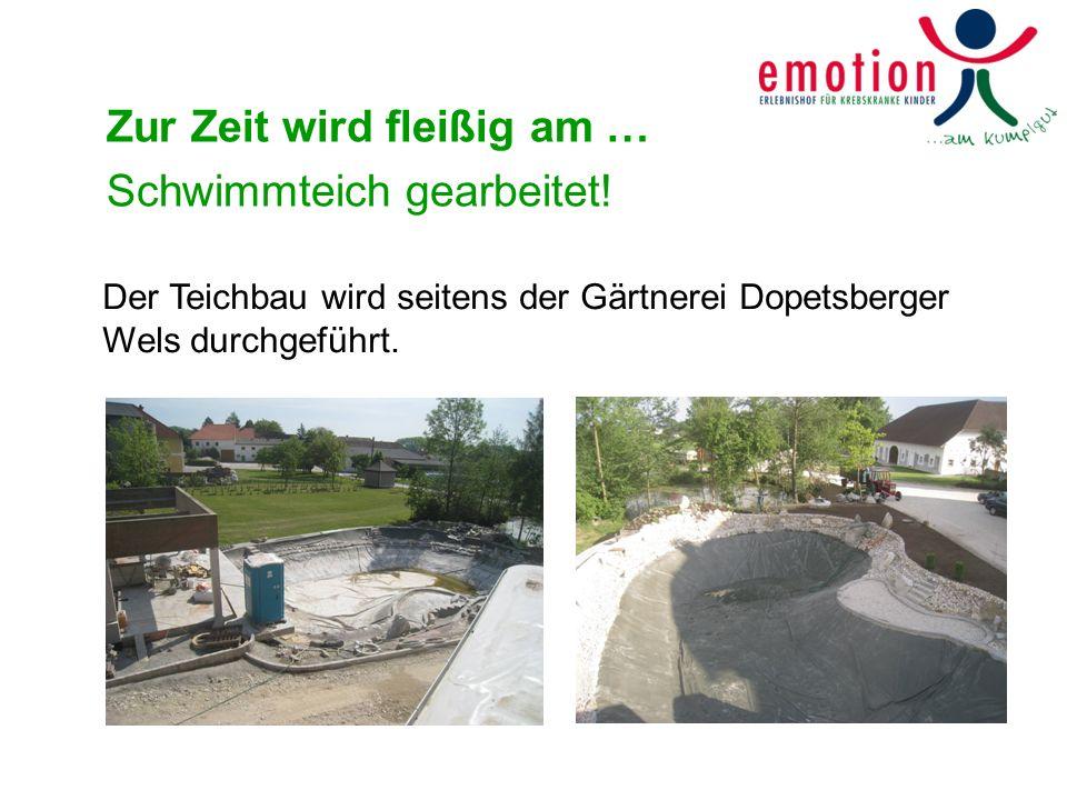Zur Zeit wird fleißig am … Schwimmteich gearbeitet! Der Teichbau wird seitens der Gärtnerei Dopetsberger Wels durchgeführt.
