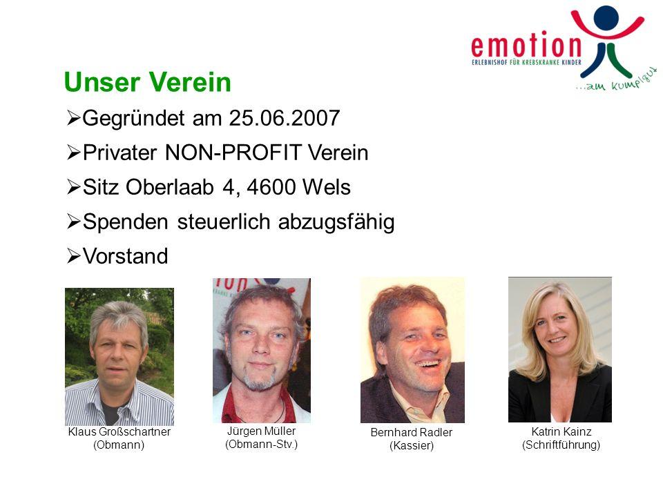 Unser Verein Gegründet am 25.06.2007 Privater NON-PROFIT Verein Sitz Oberlaab 4, 4600 Wels Spenden steuerlich abzugsfähig Vorstand Klaus Großschartner