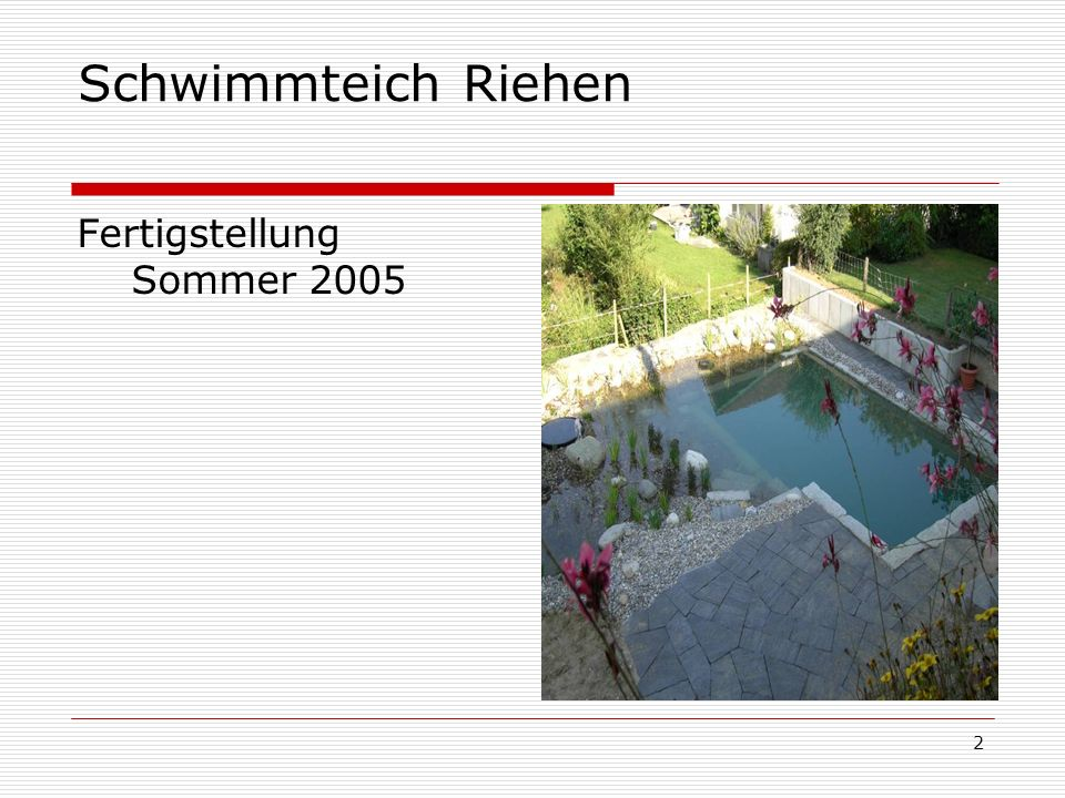 2 Schwimmteich Riehen Fertigstellung Sommer 2005