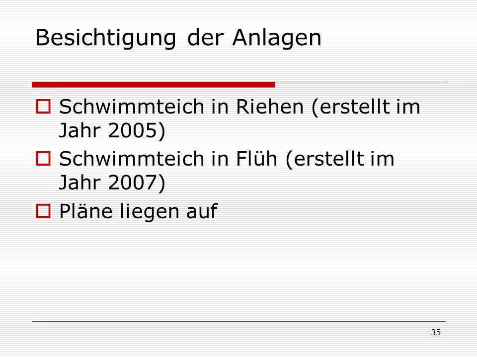 35 Besichtigung der Anlagen Schwimmteich in Riehen (erstellt im Jahr 2005) Schwimmteich in Flüh (erstellt im Jahr 2007) Pläne liegen auf