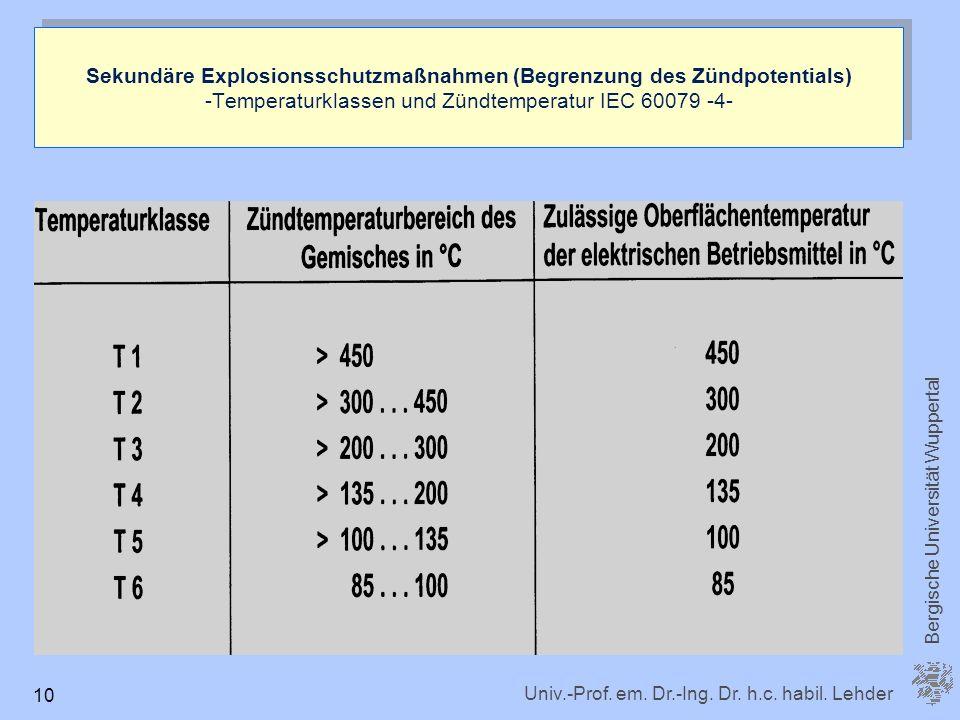 Univ.-Prof. em. Dr.-Ing. Dr. h.c. habil. Lehder Bergische Universität Wuppertal 10 Sekundäre Explosionsschutzmaßnahmen (Begrenzung des Zündpotentials)