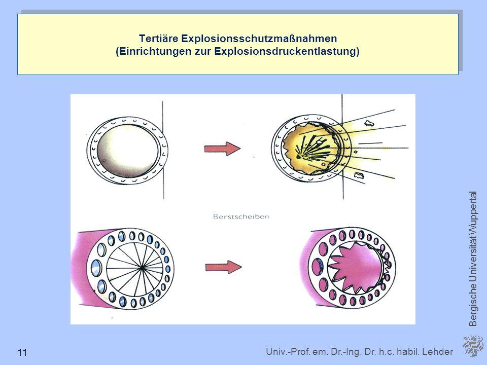 Univ.-Prof. em. Dr.-Ing. Dr. h.c. habil. Lehder Bergische Universität Wuppertal 11 Tertiäre Explosionsschutzmaßnahmen (Einrichtungen zur Explosionsdru