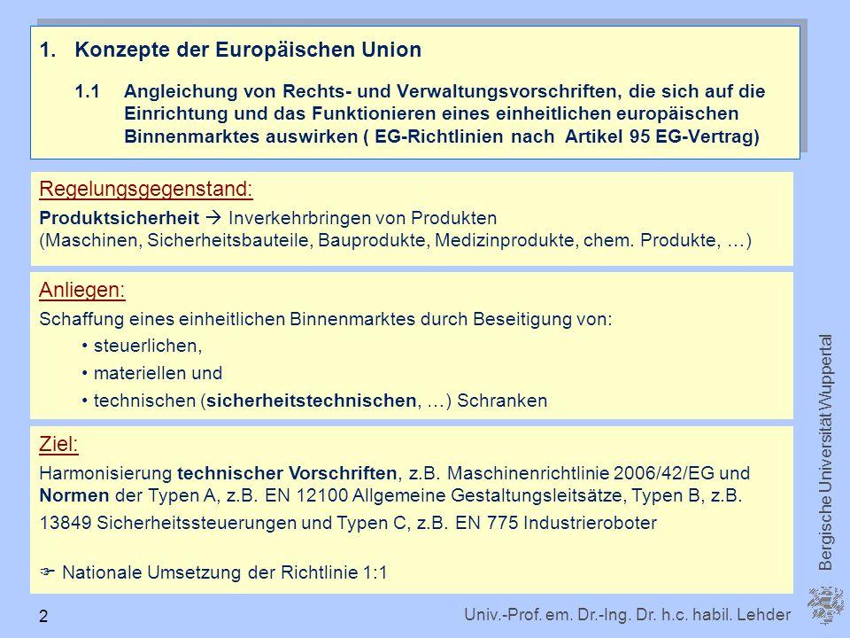 Univ.-Prof. em. Dr.-Ing. Dr. h.c. habil. Lehder Bergische Universität Wuppertal 2 1.Konzepte der Europäischen Union 1.1 Angleichung von Rechts- und Ve