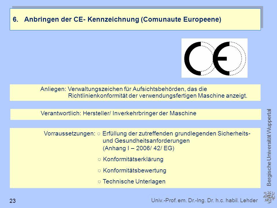Univ.-Prof. em. Dr.-Ing. Dr. h.c. habil. Lehder Bergische Universität Wuppertal 23 6. Anbringen der CE- Kennzeichnung (Comunaute Europeene) Anliegen: