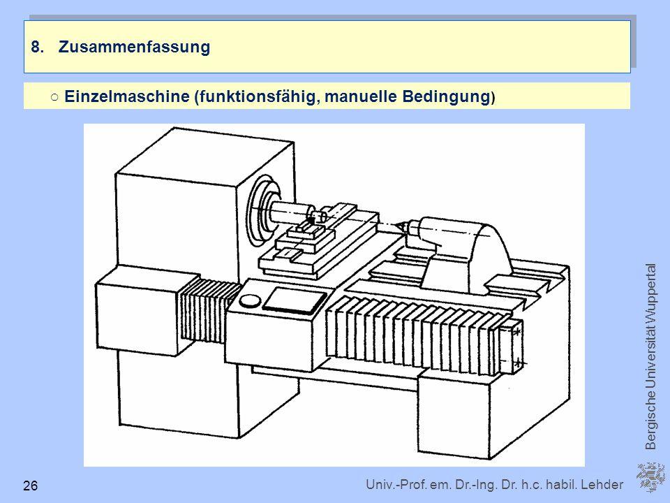 Univ.-Prof. em. Dr.-Ing. Dr. h.c. habil. Lehder Bergische Universität Wuppertal 26 8. Zusammenfassung Einzelmaschine (funktionsfähig, manuelle Bedingu