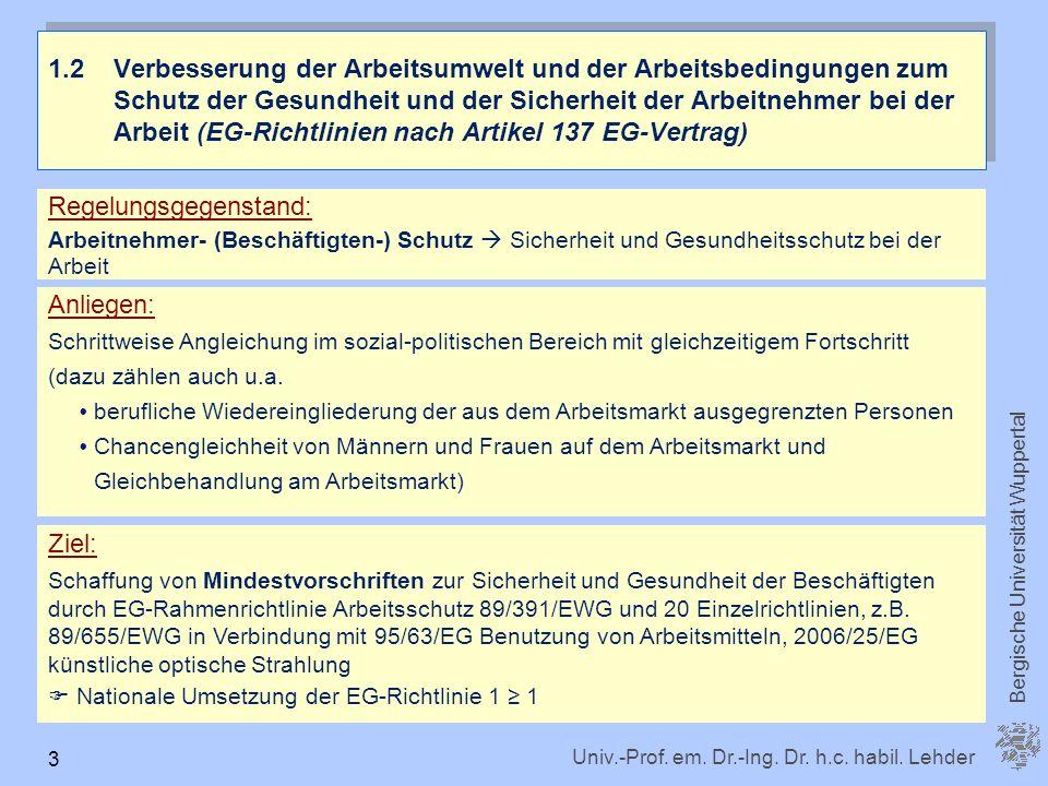 Univ.-Prof. em. Dr.-Ing. Dr. h.c. habil. Lehder Bergische Universität Wuppertal 3 1.2 Verbesserung der Arbeitsumwelt und der Arbeitsbedingungen zum Sc