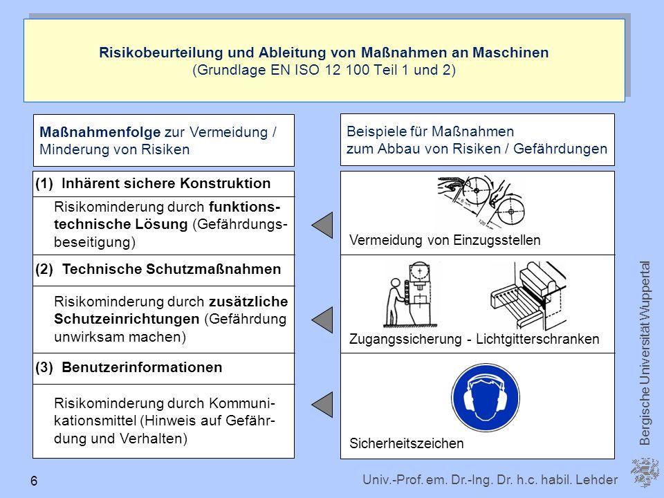 Univ.-Prof. em. Dr.-Ing. Dr. h.c. habil. Lehder Bergische Universität Wuppertal 6 Risikobeurteilung und Ableitung von Maßnahmen an Maschinen (Grundlag