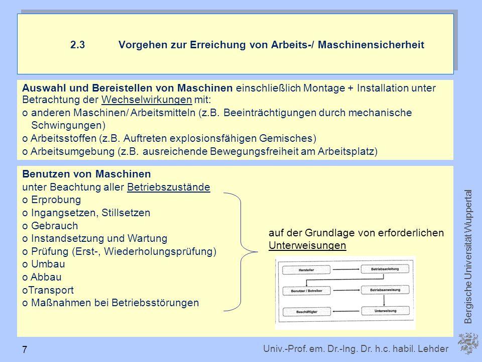 Univ.-Prof. em. Dr.-Ing. Dr. h.c. habil. Lehder Bergische Universität Wuppertal 7 Auswahl und Bereistellen von Maschinen einschließlich Montage + Inst