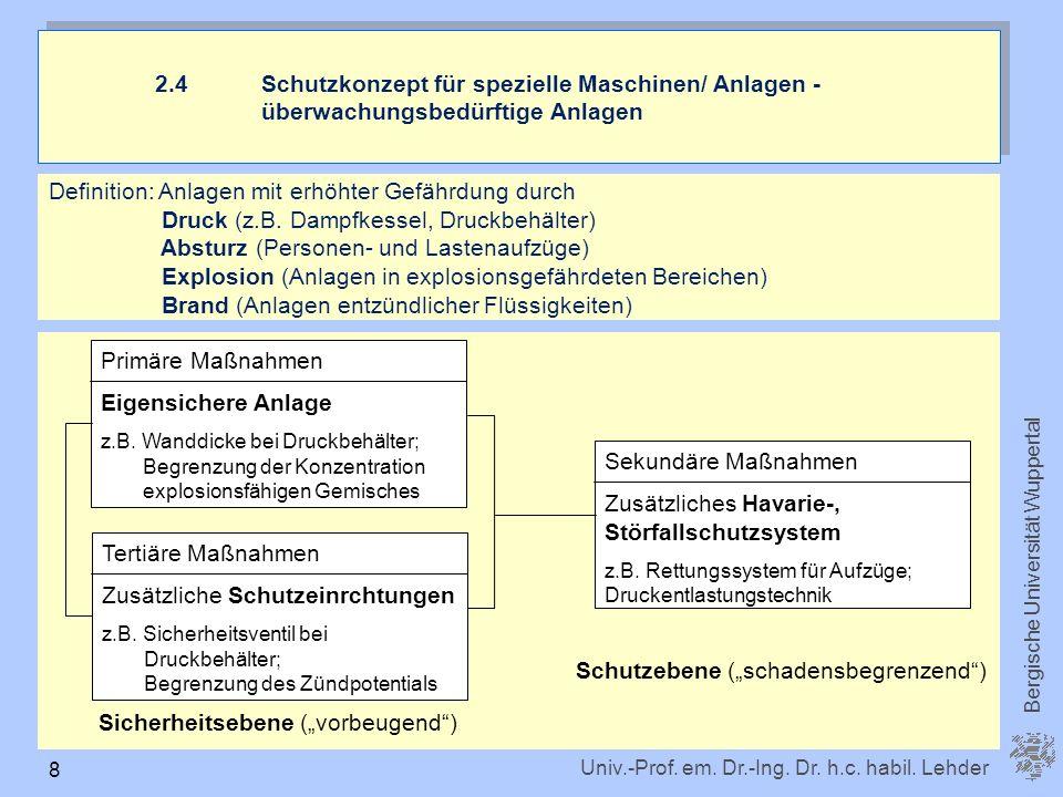 Univ.-Prof. em. Dr.-Ing. Dr. h.c. habil. Lehder Bergische Universität Wuppertal 8 Definition: Anlagen mit erhöhter Gefährdung durch Druck (z.B. Dampfk