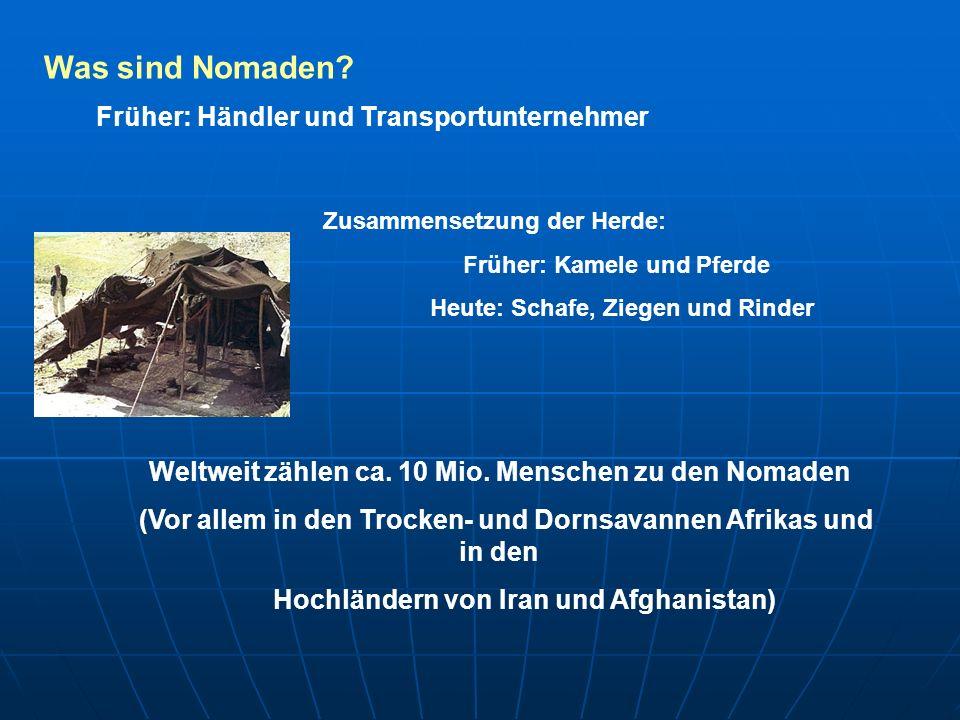 Was sind Nomaden? Früher: Händler und Transportunternehmer Zusammensetzung der Herde: Früher: Kamele und Pferde Heute: Schafe, Ziegen und Rinder Weltw