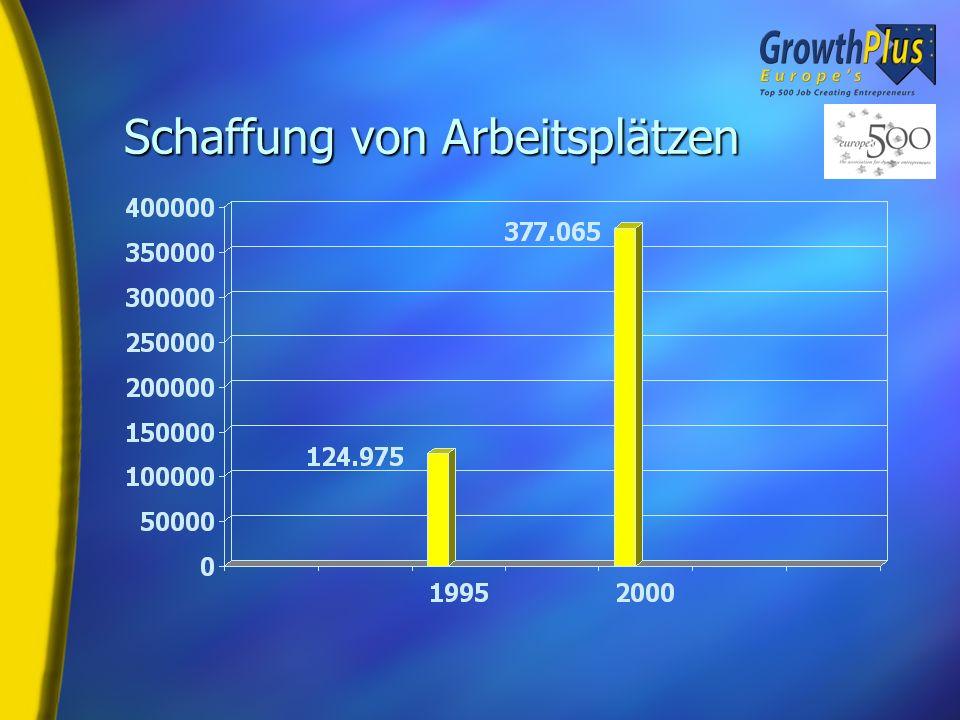 Beschäftigungsstatistik H Neue Jobs: 252.090 H Wachstum in % Jährlich: 24,7% Kumulativ: 202% H Durchschnitt pro Unternehmen: 504 (gegenüber 455 in der