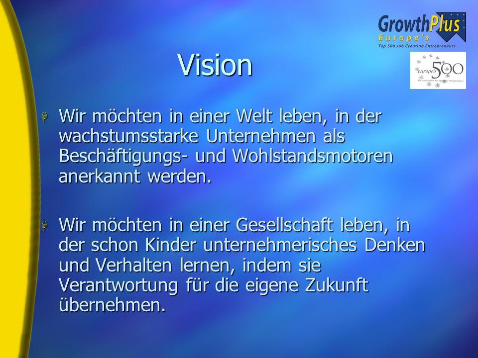 Vision H Wir möchten in einer Welt leben, in der wachstumsstarke Unternehmen als Beschäftigungs- und Wohlstandsmotoren anerkannt werden.