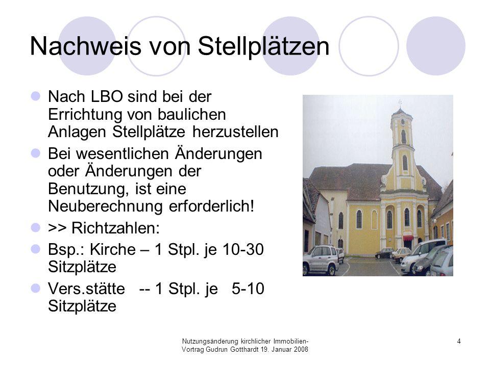 Nutzungsänderung kirchlicher Immobilien- Vortrag Gudrun Gotthardt 19. Januar 2008 4 Nachweis von Stellplätzen Nach LBO sind bei der Errichtung von bau