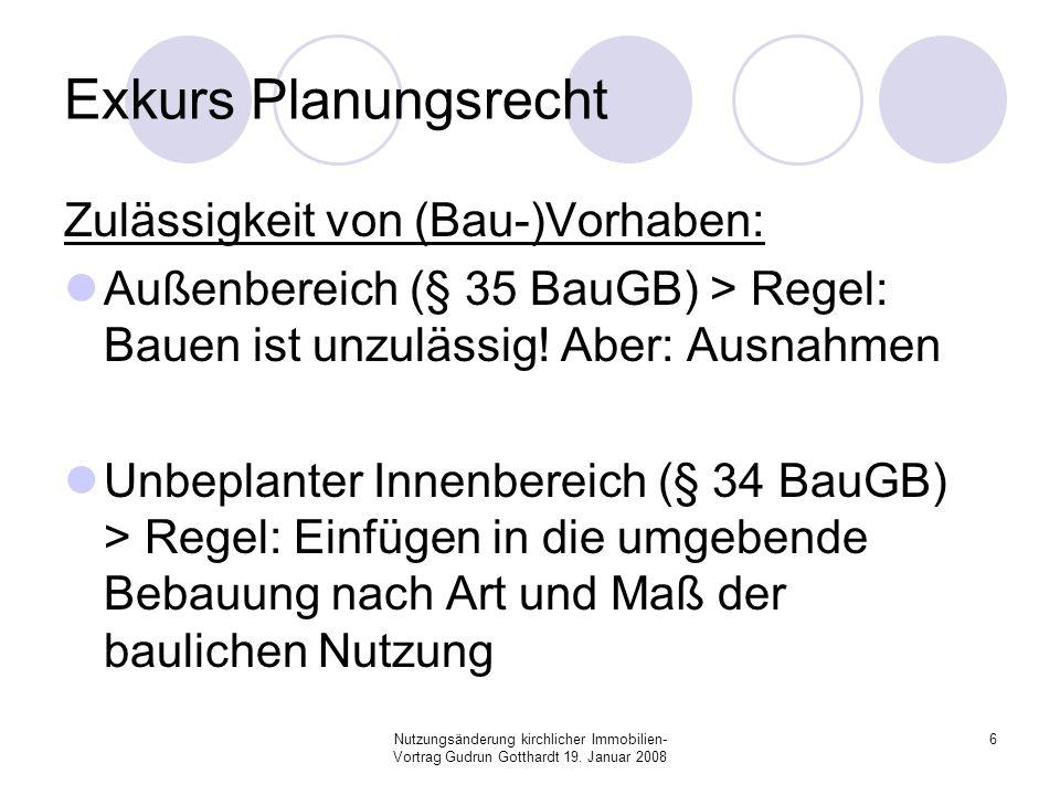 Nutzungsänderung kirchlicher Immobilien- Vortrag Gudrun Gotthardt 19. Januar 2008 6 Exkurs Planungsrecht Zulässigkeit von (Bau-)Vorhaben: Außenbereich