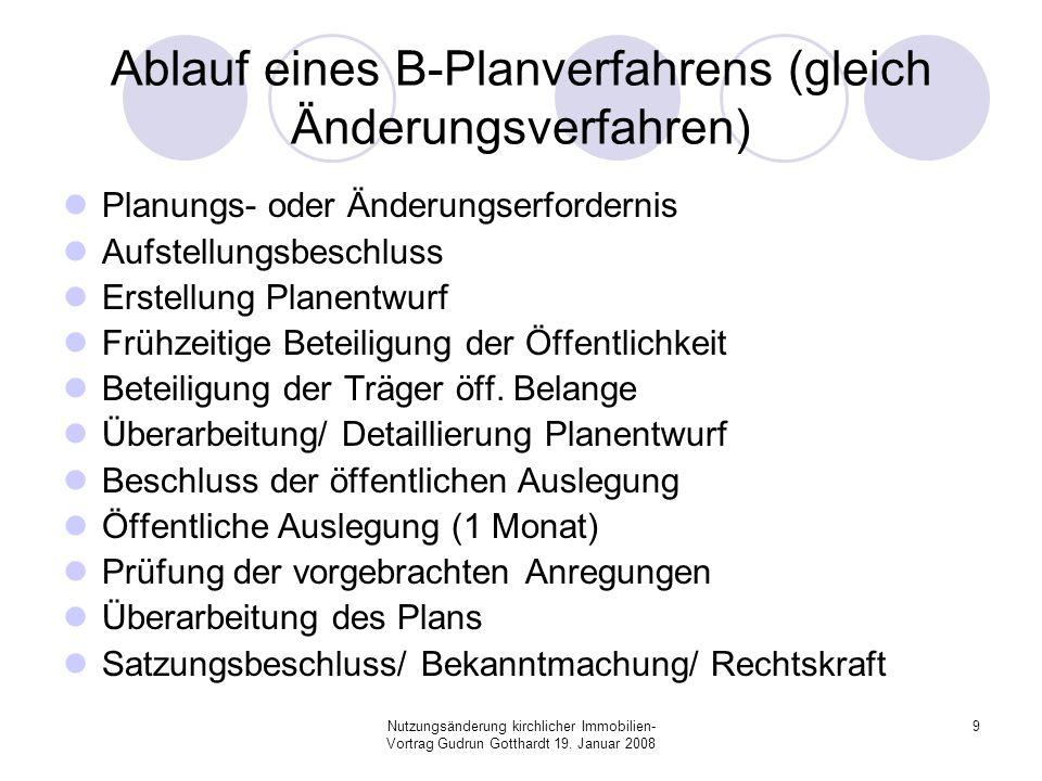 Nutzungsänderung kirchlicher Immobilien- Vortrag Gudrun Gotthardt 19. Januar 2008 9 Ablauf eines B-Planverfahrens (gleich Änderungsverfahren) Planungs