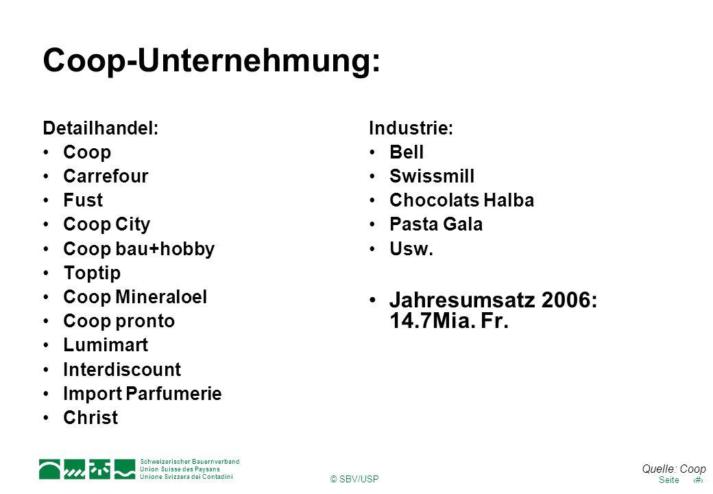Schweizerischer Bauernverband Union Suisse des Paysans Unione Svizzera dei Contadini © SBV/USP 11Seite Coop-Unternehmung: Detailhandel: Coop Carrefour
