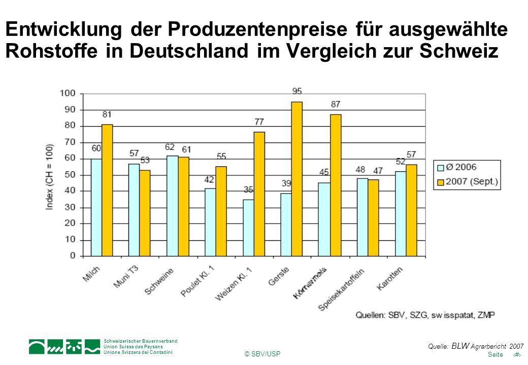 Schweizerischer Bauernverband Union Suisse des Paysans Unione Svizzera dei Contadini © SBV/USP 27Seite Entwicklung der Produzentenpreise für ausgewähl