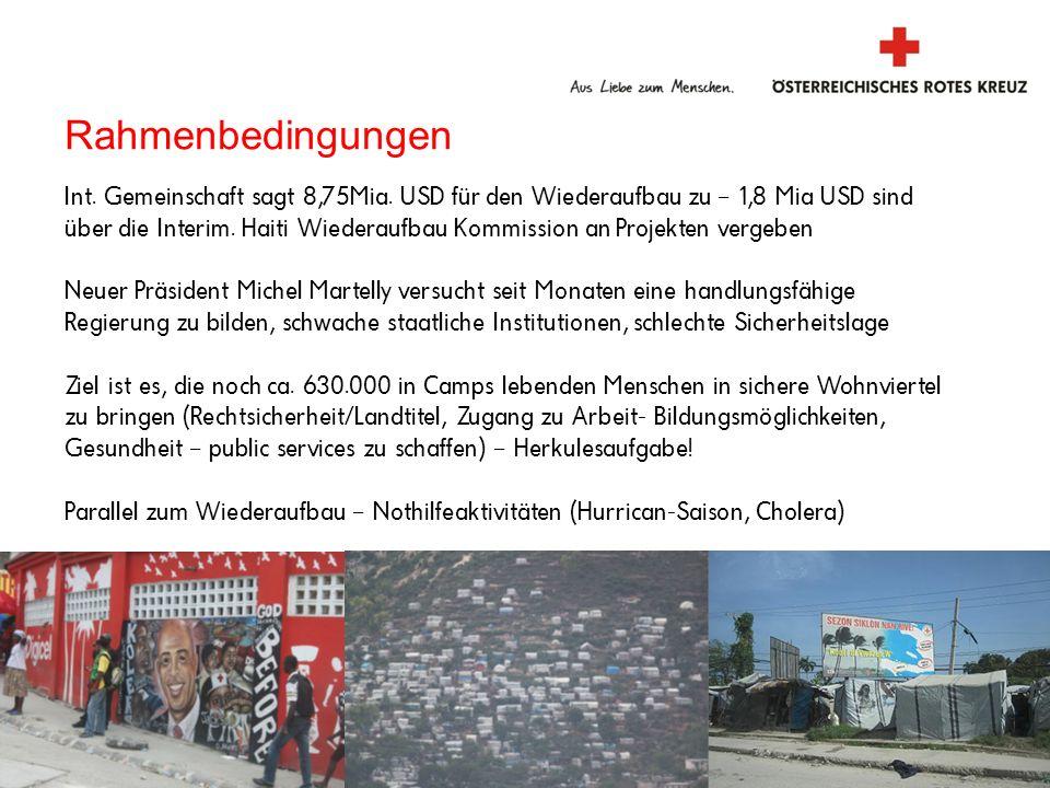 2 Internationale Katastrophenhilfe Rahmenbedingungen Int. Gemeinschaft sagt 8,75Mia. USD für den Wiederaufbau zu – 1,8 Mia USD sind über die Interim.