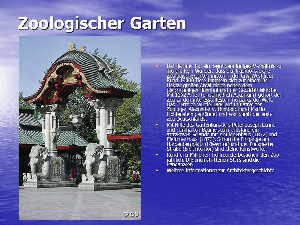 Zoologischer Garten Der Berliner hat ein besonders inniges Verhältnis zu Tieren. Kein Wunder, dass der traditionsreiche Zoologische Garten mitten in d