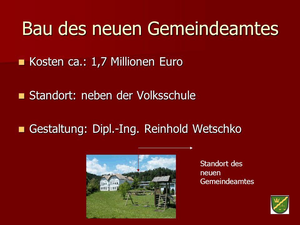 Bau des neuen Gemeindeamtes Kosten ca.: 1,7 Millionen Euro Kosten ca.: 1,7 Millionen Euro Standort: neben der Volksschule Standort: neben der Volkssch
