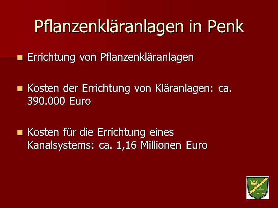 Pflanzenkläranlagen in Penk Errichtung von Pflanzenkläranlagen Errichtung von Pflanzenkläranlagen Kosten der Errichtung von Kläranlagen: ca. 390.000 E