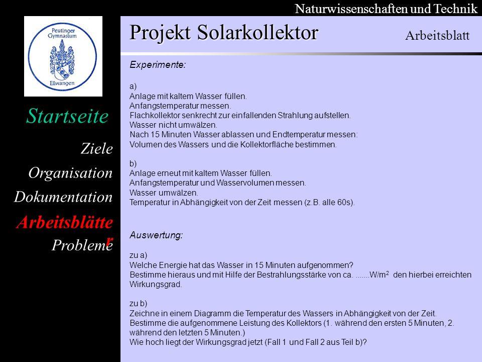 Organisation Dokumentation Arbeitsblätter Ziele Startseite Naturwissenschaften und Technik Projekt Solarkollektor Probleme Experimente: a) Anlage mit kaltem Wasser füllen.