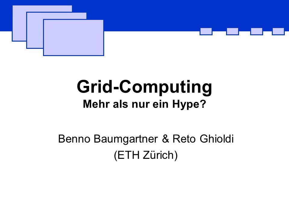 Grid-Computing Mehr als nur ein Hype? Benno Baumgartner & Reto Ghioldi (ETH Zürich)