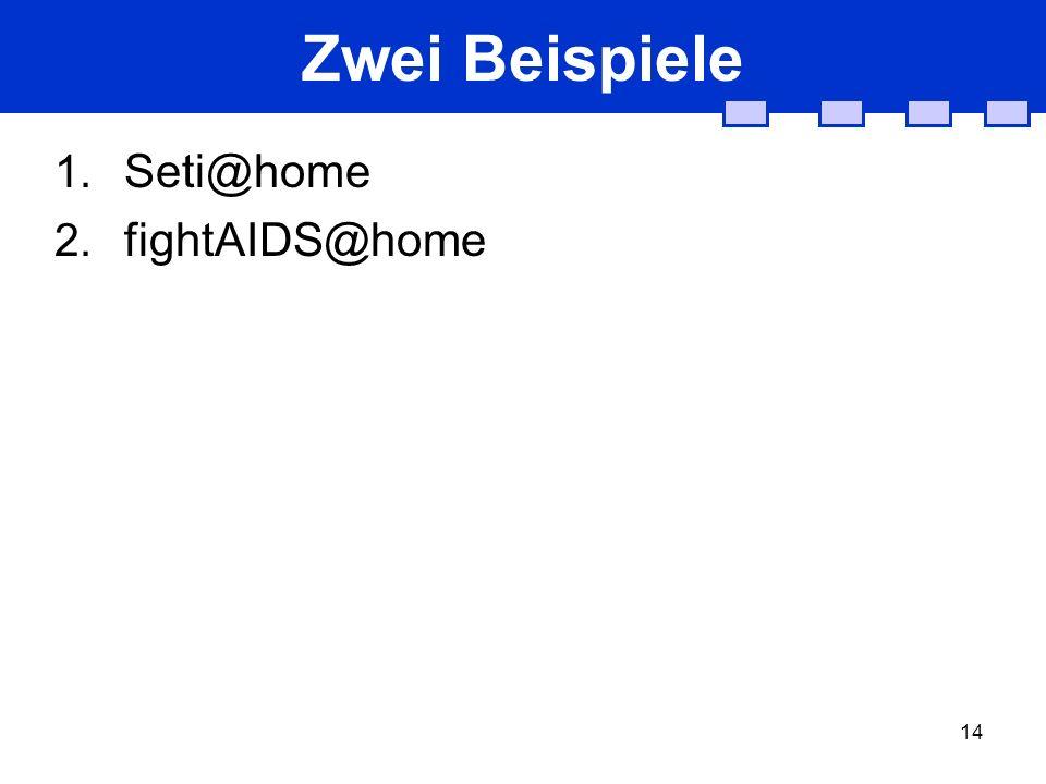 14 Zwei Beispiele 1. Seti@home 2. fightAIDS@home