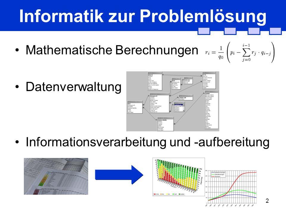 2 Informatik zur Problemlösung Mathematische Berechnungen Datenverwaltung Informationsverarbeitung und -aufbereitung
