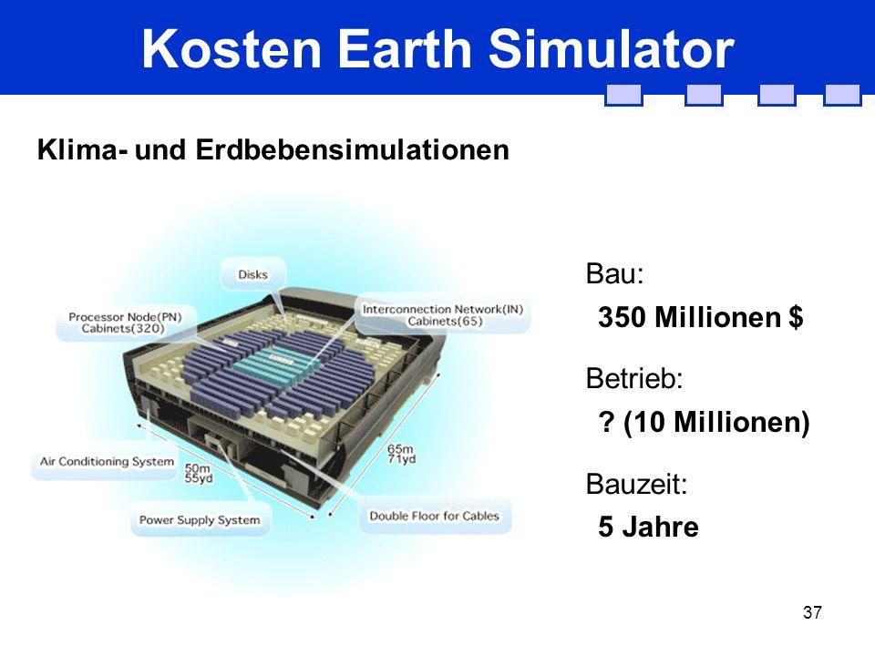 37 Kosten Earth Simulator Klima- und Erdbebensimulationen Bau: Betrieb: Bauzeit: 350 Millionen $ ? (10 Millionen) 5 Jahre