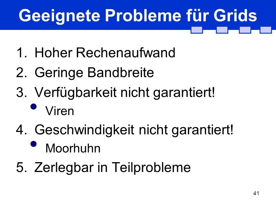 41 Geeignete Probleme für Grids 1.Hoher Rechenaufwand 2.Geringe Bandbreite 3.Verfügbarkeit nicht garantiert! Viren 4.Geschwindigkeit nicht garantiert!