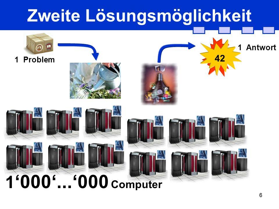 6 Zweite Lösungsmöglichkeit 1 Problem 42 1 Antwort 1 000...000 Computer