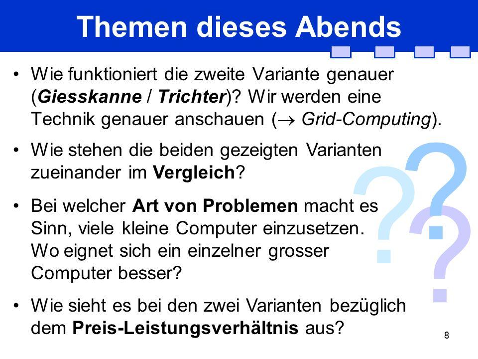 8 . Themen dieses Abends Wie funktioniert die zweite Variante genauer (Giesskanne / Trichter).