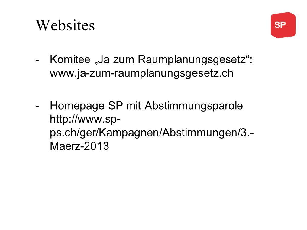 Websites -Komitee Ja zum Raumplanungsgesetz: www.ja-zum-raumplanungsgesetz.ch -Homepage SP mit Abstimmungsparole http://www.sp- ps.ch/ger/Kampagnen/Ab