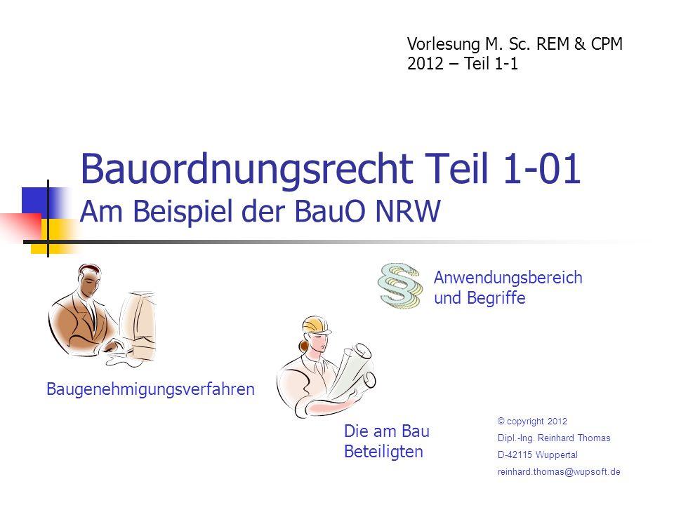 Bauordnungsrecht Teil 1-01 Am Beispiel der BauO NRW Vorlesung M.