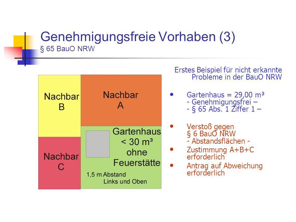 Genehmigungsfreie Vorhaben (3) § 65 BauO NRW Erstes Beispiel für nicht erkannte Probleme in der BauO NRW Gartenhaus = 29,00 m³ - Genehmigungsfrei – - § 65 Abs.