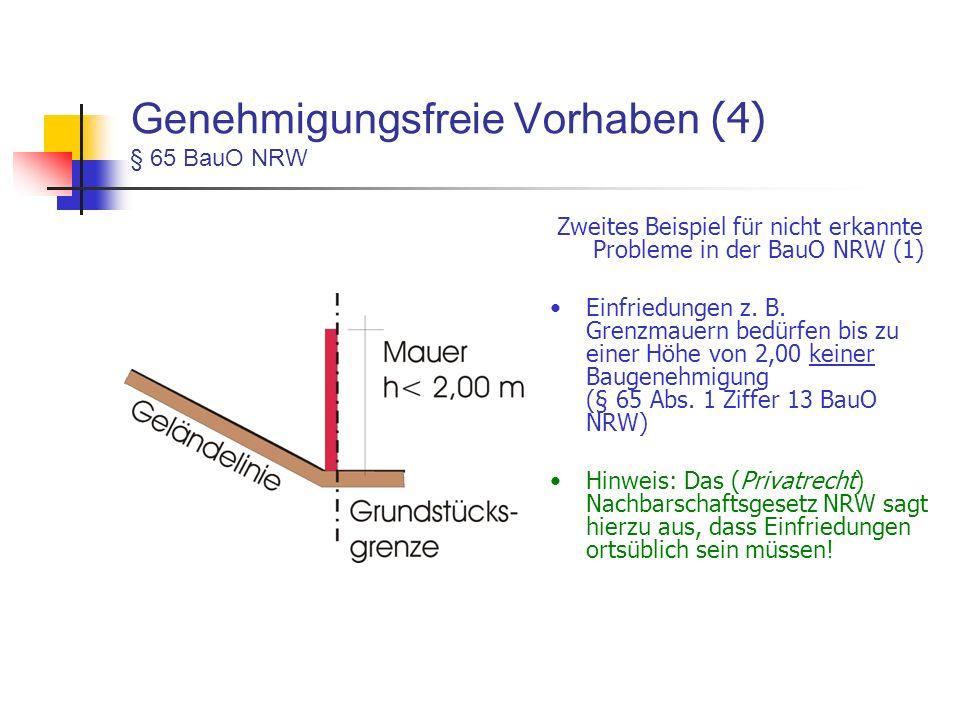 Genehmigungsfreie Vorhaben (4) § 65 BauO NRW Zweites Beispiel für nicht erkannte Probleme in der BauO NRW (1) Einfriedungen z.