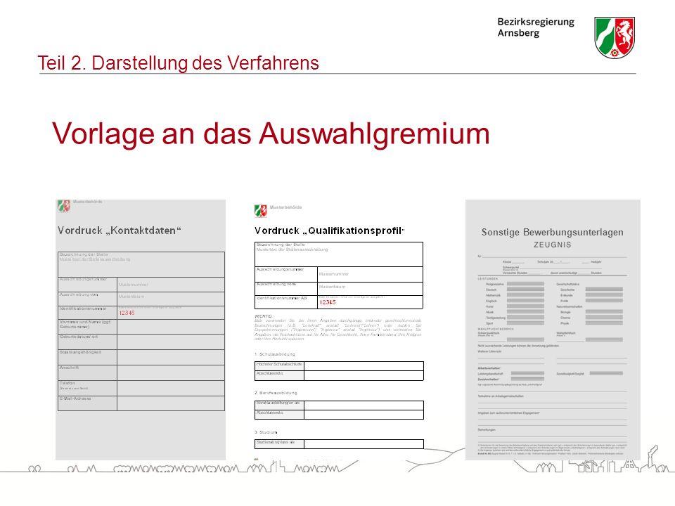 Vorlage an das Auswahlgremium Teil 2. Darstellung des Verfahrens Sonstige Bewerbungsunterlagen
