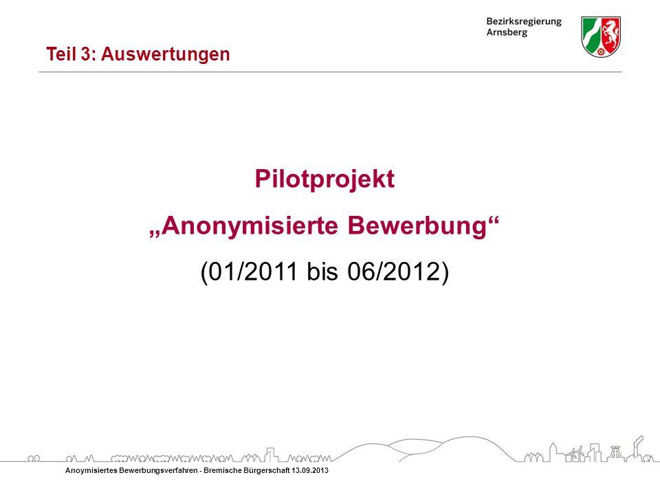 Teil 3: Auswertungen Pilotprojekt Anonymisierte Bewerbung (01/2011 bis 06/2012)
